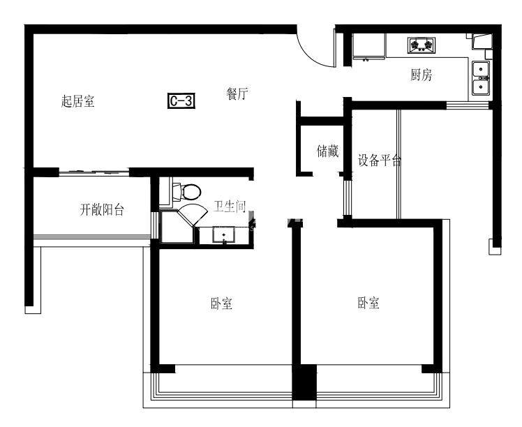 正荣润峯标准层C3户型 94平方米