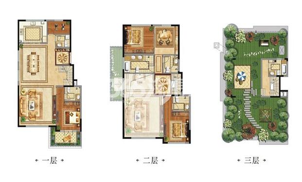 中国铁建西派国际别墅B3户型4室2厅6卫1厨240.00㎡