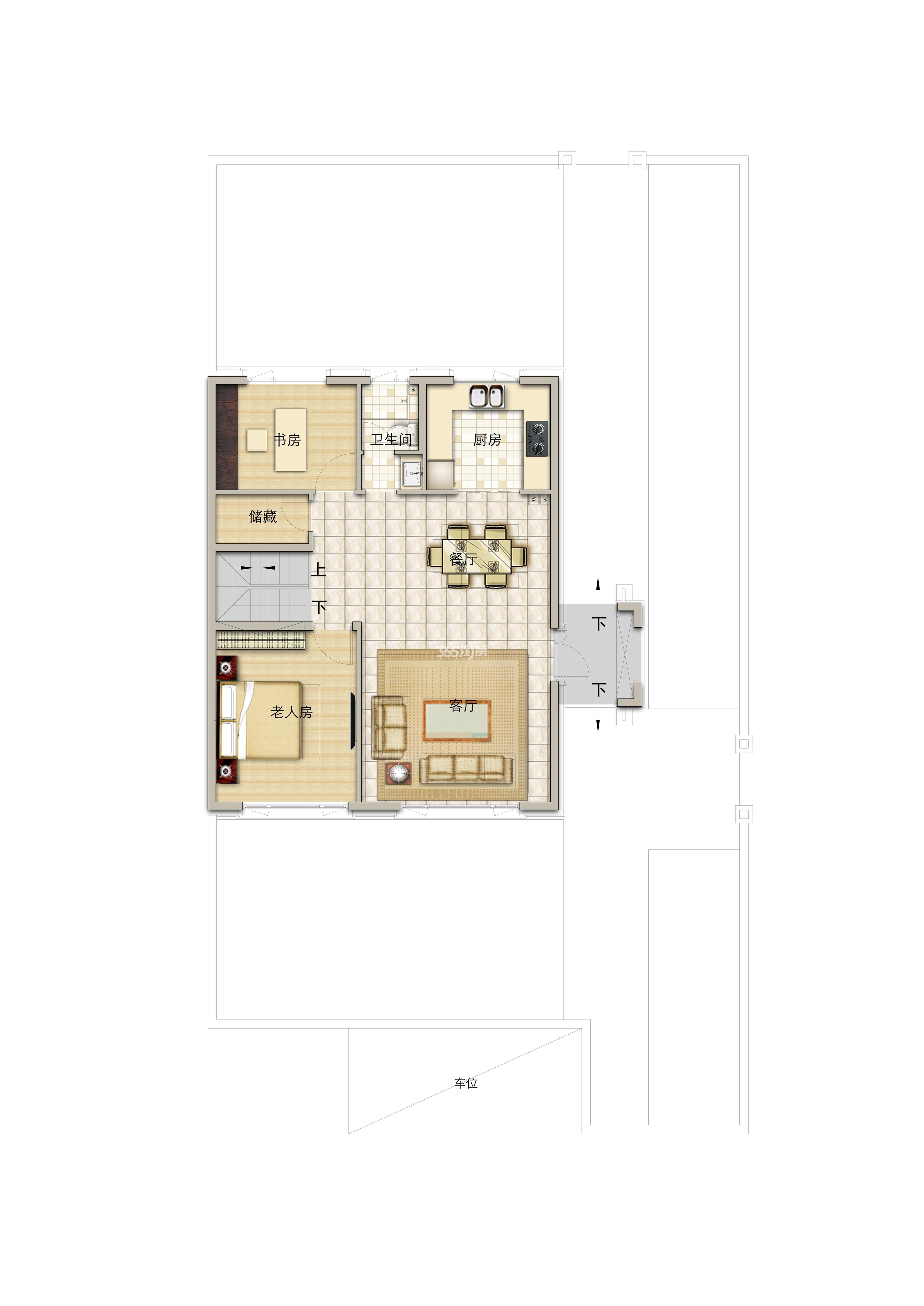 别墅190平米一层