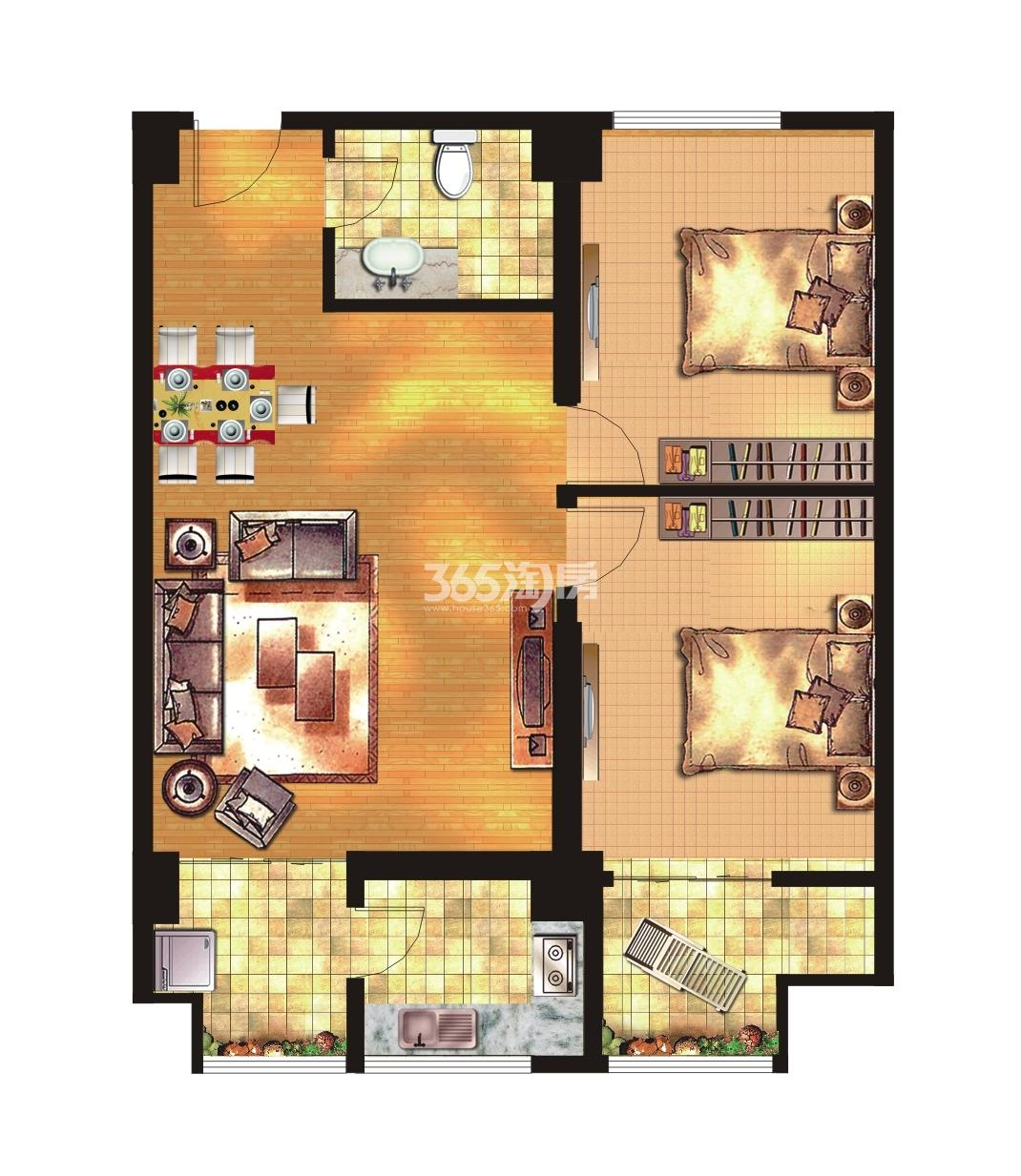 荣华碧水蓝庭公寓114㎡两房两厅