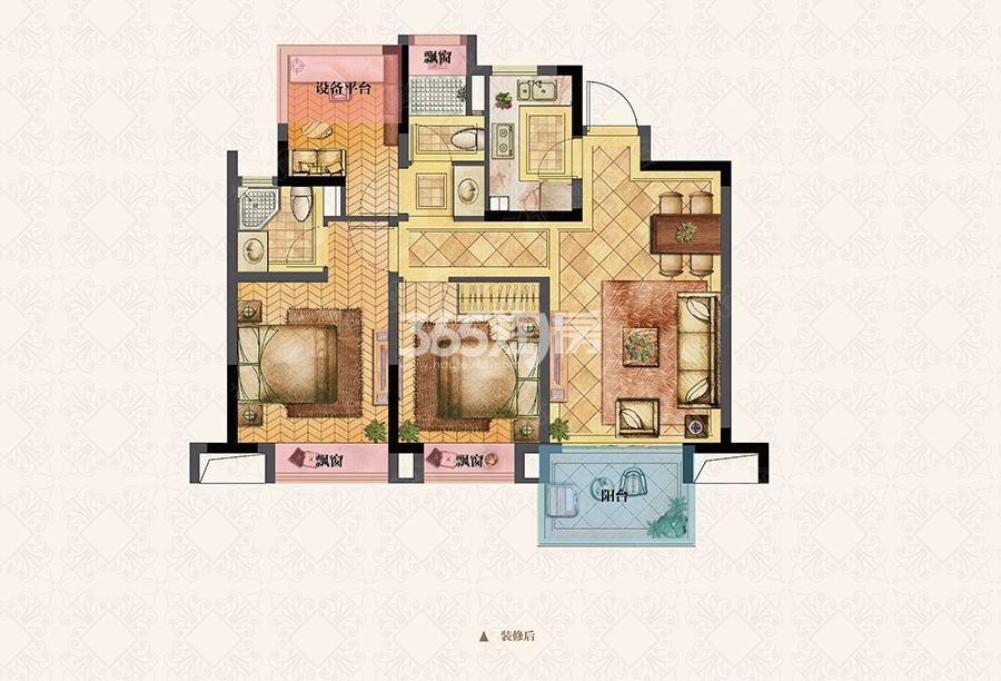 荣里89㎡三室两厅B2户型图