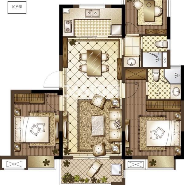 御澜府90㎡三室两厅两卫