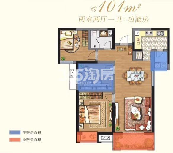 阳光城西西里 8号楼 2室2厅1卫1厨+功能房 101㎡
