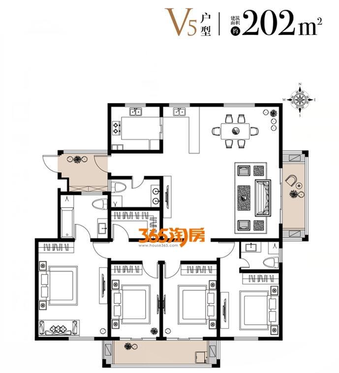 栖霞东方天郡三期洋房V5户型202平户型图