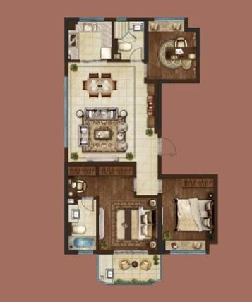 绿地·海悦三室两厅两卫125㎡-1户型