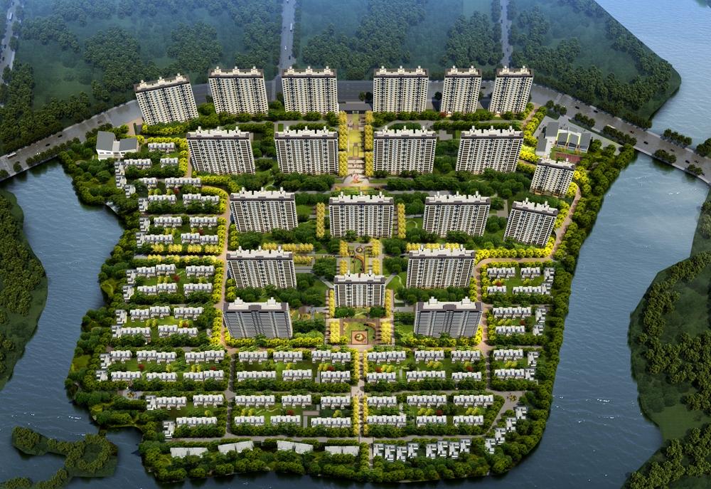 霞客岛生态城项目一期鸟瞰图