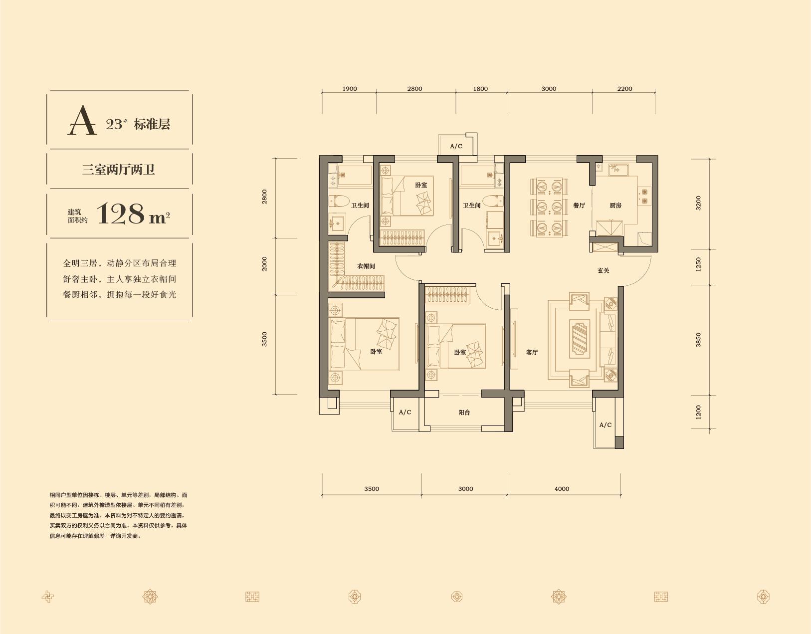 A户型 128平米 三室两厅两卫